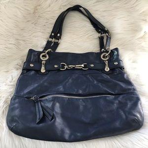B.Makowskg Blue Leather Shoulder Purse designer
